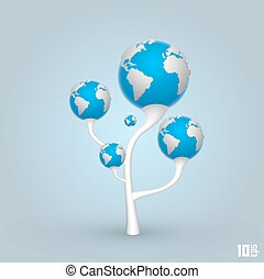 Tree of the planets earth. Vector Illustration