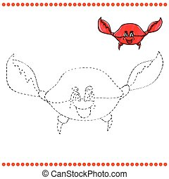 Connect the dots and coloring page with funny crab