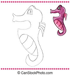 Connect the dots and coloring page with sea horse