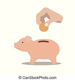 pig moneybox - This is a pig moneybox and a hand putting...