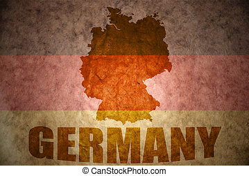 Vintage germany map - germany map on a vintage canadian flag...