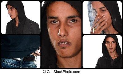 bad boy montage, violent young man - portrait of a violent...