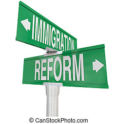 Immigration Reform Road Signs Changing Legal Residency...