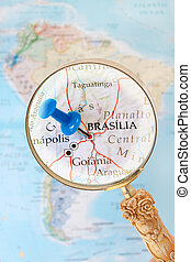 Looking in on Brasilia, Brazil - Blue tack on map of South...