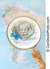 Montevideo, Uruguay - Blue tack on map of South America with...