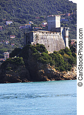 Lerici typical village, Castle in Liguria - view of Lerici...