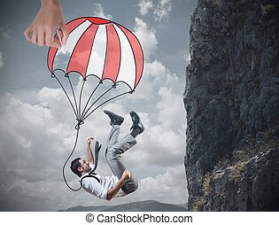 Businessman is saved from a fall deep