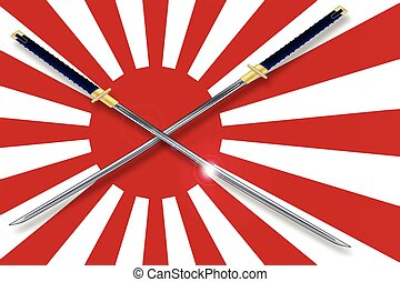 Japanese Flag and Swords - The rising sun Japanese flag in...