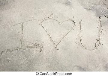 i, Coração, tu, escrito, em, Areia,