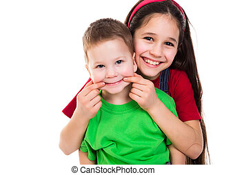 Kinder, spielende, zusammen, glücklich