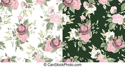 Vector set of seamless floral patterns with roses