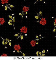 Vector seamless floral pattern with red roses on black background