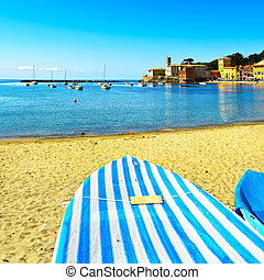 Sestri Levante, silence bay sea, boat and beach view....