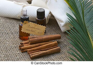 Cinnamon essential oil - A dropper bottle of cinnamon...