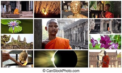 buddhism collage - buddhism montage including monks,...