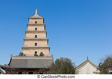 Giant Wild Goose Pagoda in southern Xi'an, Shaanxi province,...