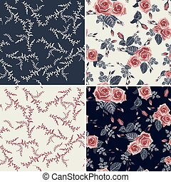 Set of vector floral seamless patterns