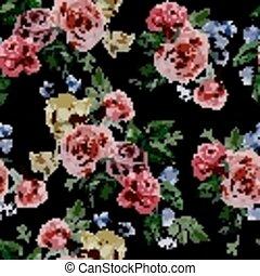 Cor-de-rosa, roxo, Padrão,  seamless, aquarela, rosas, fundo, pretas,  floral, vermelho
