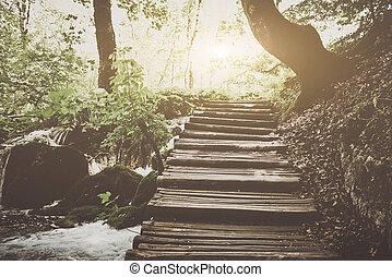 Retro Hiking Path with Sunlight with Instagram Style Vintage...