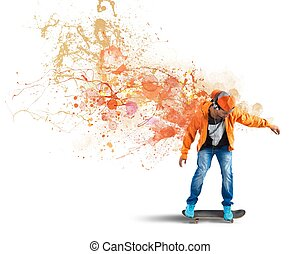 Orange skater - Boy with skate leaves a coloured trail