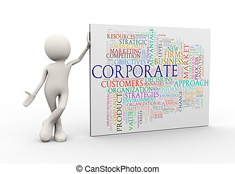 3d man standing with corporate wordcloud word tags - 3d...