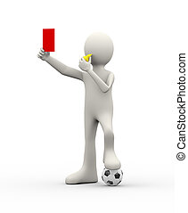 3d arbiter referee whistle showing red card - 3d...
