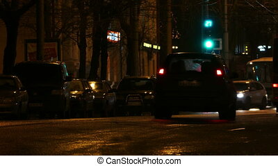 Cars At Night City Street - PETROZAVODSK, RUSSIA - NOVEMBER...