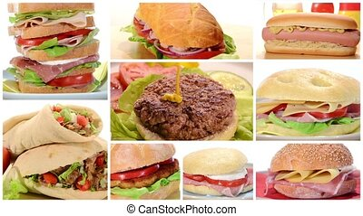 assorted sandwiches composition in several dishes rotating...