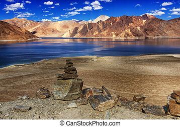 Rocks, stones, mountains,Pangong tso (Lake),Leh,Ladakh,Jammu...