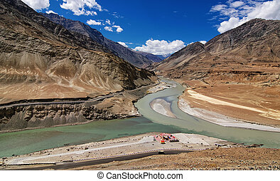 Confluence of Zanskar and Indus rivers - Leh, Ladakh, India...