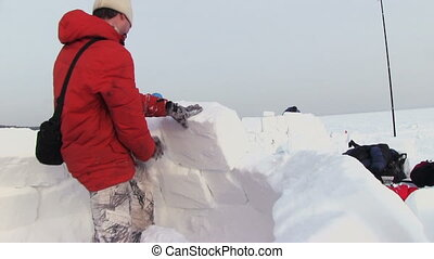 Man Builds A Igloo - NOVOSIBIRSK, RUSSIA, - February 07,...