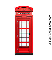 British Red Telephone Booth isolated on white background 3D...