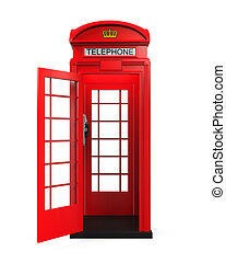British Red Telephone Booth isolated on white background. 3D...