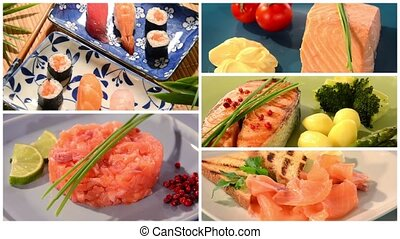 salmon recipes collage - Norwegian salmon in several dishes...