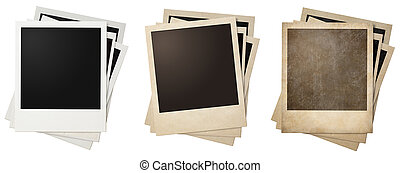 old and new polaroid photo frames stacks isolated on white