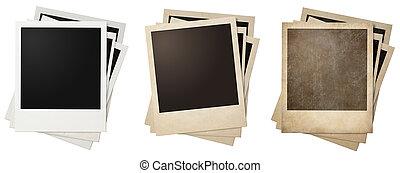 viejo, y, nuevo, polaroid, foto, marcos, pilas, aislado,