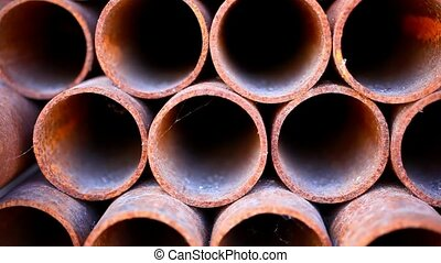 Many rusty pipes of Russian factory HD 1920x1080 - Many...