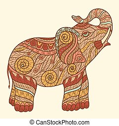 Zen tangle - Stylized elephant in a graphic style, vector...