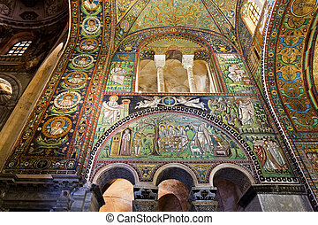 Ravenna Basilica of St Vitale - Detail of the mosaics on the...