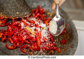 Making sambal, special chilli food in Indonesia to eat...