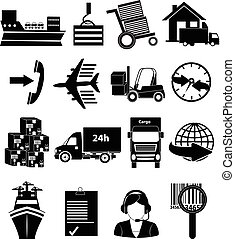 cargo and shipping icons set
