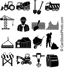 Construction icons set - Construction vector icons set in...