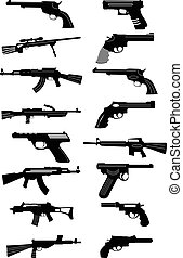 Guns icons set - Guns vector icons set in black.