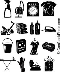 Laundry icons set - Laundry vector icons set in black.