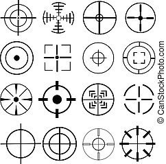 aim target icons set - aim target vector icons set in black.