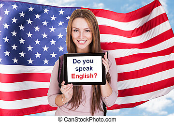 American Woman Asking Do You Speak English - Young Woman...