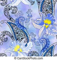 pattern with blue orchids with a blurred background -...