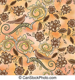 Seamless vintage pattern with floral motifs and birds on a...