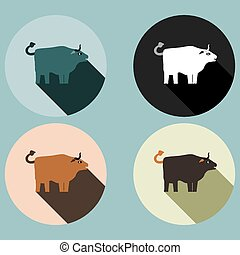 Bull with long shadow - four colored variations