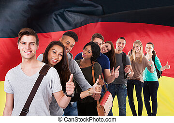 German Classes - Group Of Multi Ethnic Students Standing In...